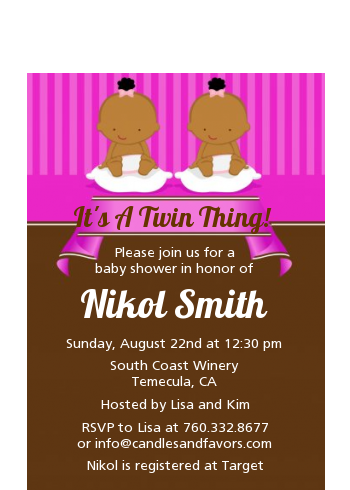 Twin Baby Girls African American - Baby Shower Petite Invitations