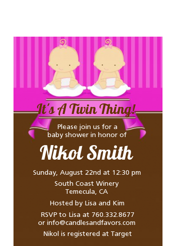 Twin Baby Girls Caucasian - Baby Shower Petite Invitations