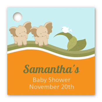 Twin Elephants - Personalized Baby Shower Card Stock Favor Tags