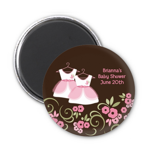 Twin Little Girl Outfits Personalized Baby Shower Magnet Favors