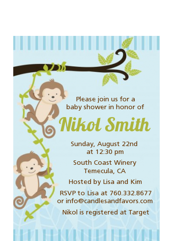 Twin Monkey Boys - Baby Shower Petite Invitations
