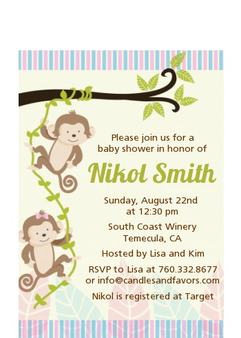 Twin Monkey - Baby Shower Petite Invitations 1 boy 1 girl