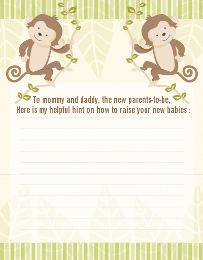 Twin Monkey - Baby Shower Notes of Advice