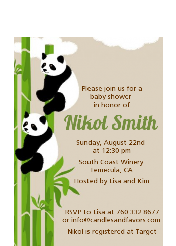 Twin Pandas - Baby Shower Petite Invitations