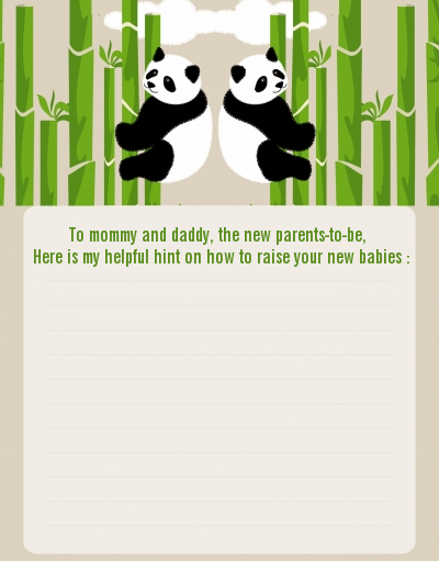 Twin Pandas - Baby Shower Notes of Advice
