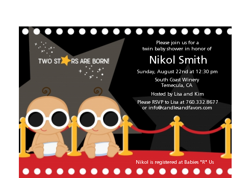 Twin Stars Are Born Hollywood - Baby Shower Petite Invitations 1 Girl 1 Boy