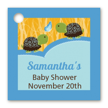Twin Turtle Boys - Personalized Baby Shower Card Stock Favor Tags