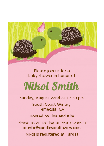 Twin Turtle Girls - Baby Shower Petite Invitations