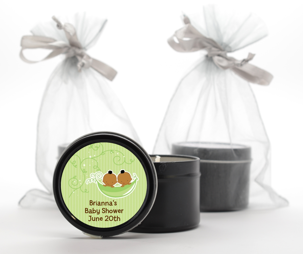 Twins Two Peas in a Pod African American - Baby Shower Black Candle Tin Favors One Girl One Boy