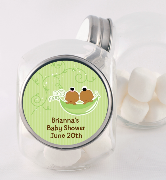 Twins Two Peas in a Pod African American - Personalized Baby Shower Candy Jar One Girl One Boy