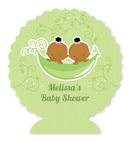 Twins Two Peas in a Pod African American - Personalized Baby Shower Centerpiece Stand One Girl One Boy