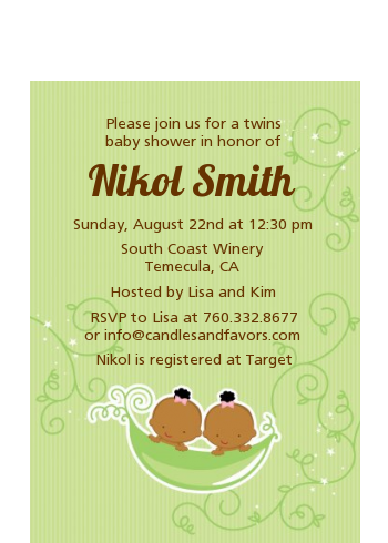 Twins Two Peas in a Pod African American - Baby Shower Petite Invitations 1 Boy 1 Girl