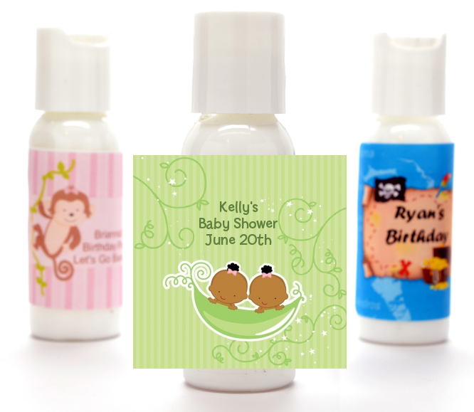 Twins Two Peas in a Pod African American - Personalized Baby Shower Lotion Favors 1 Boy 1 Girl