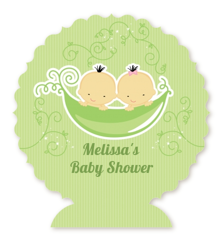 Twins Two Peas in a Pod Asian - Personalized Baby Shower Centerpiece Stand One Girl One Boy