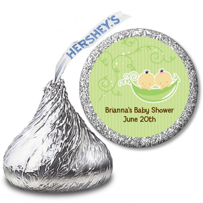 Twins Two Peas in a Pod Asian - Hershey Kiss Baby Shower Sticker Labels 1 Boy 1 Girl