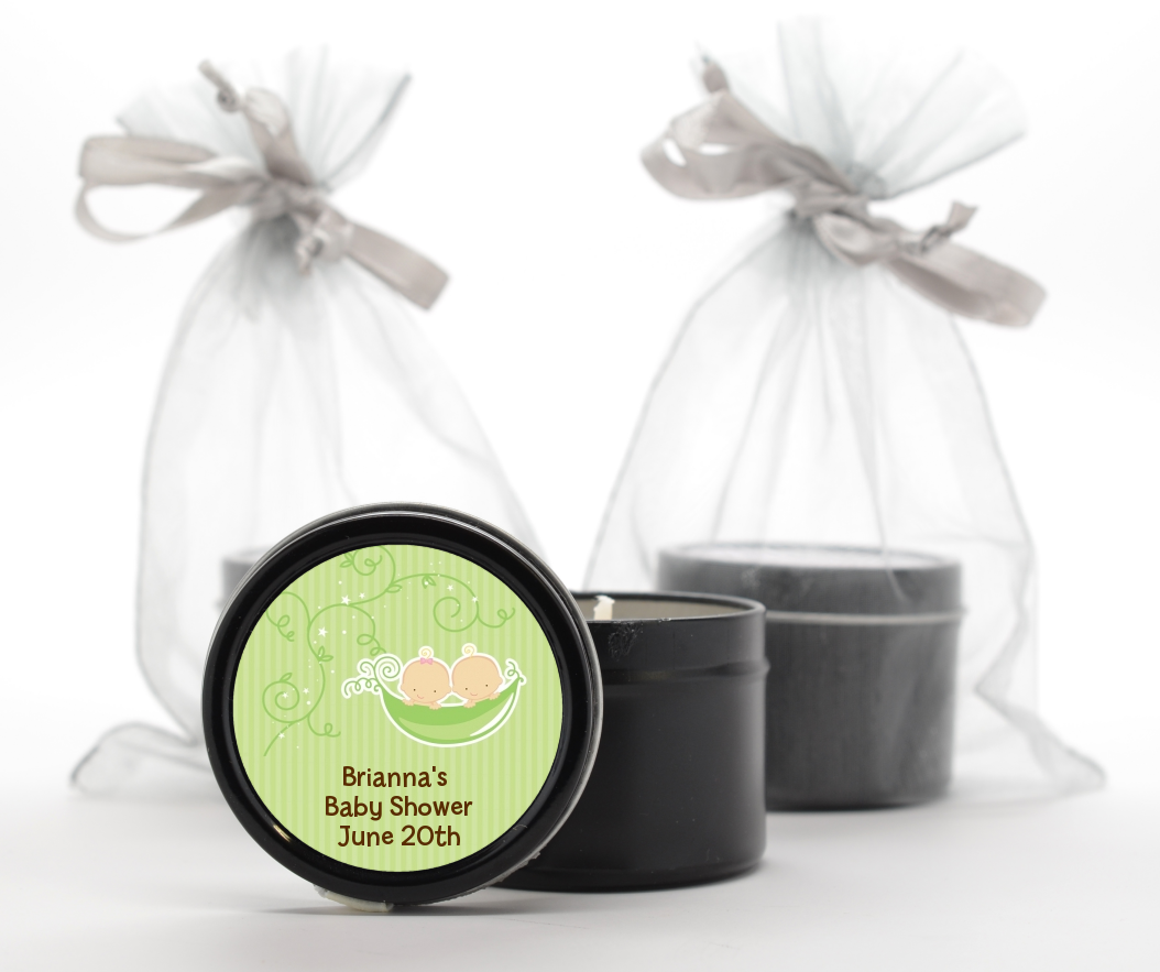 Twins Two Peas in a Pod Caucasian - Baby Shower Black Candle Tin Favors 1 Boy 1 Girl