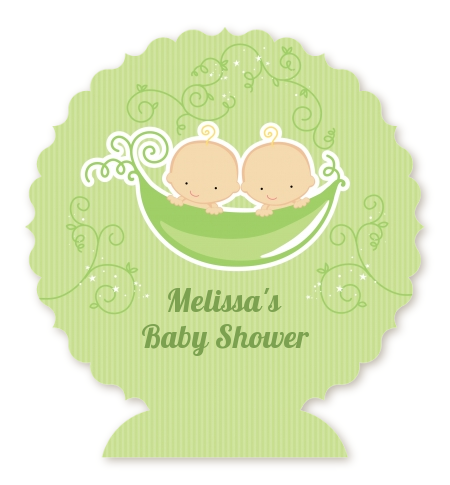 Twins Two Peas in a Pod Caucasian - Personalized Baby Shower Centerpiece Stand One Girl One Boy