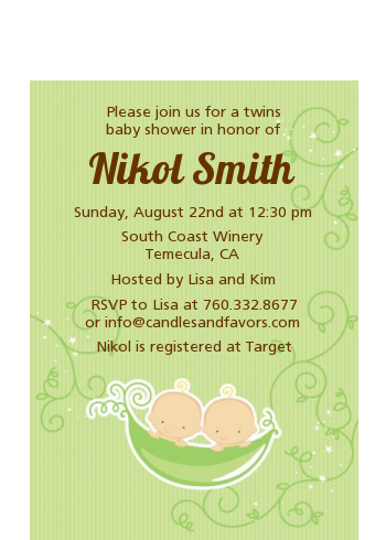 Twins Two Peas in a Pod Caucasian - Baby Shower Petite Invitations 1 Boy 1 Girl