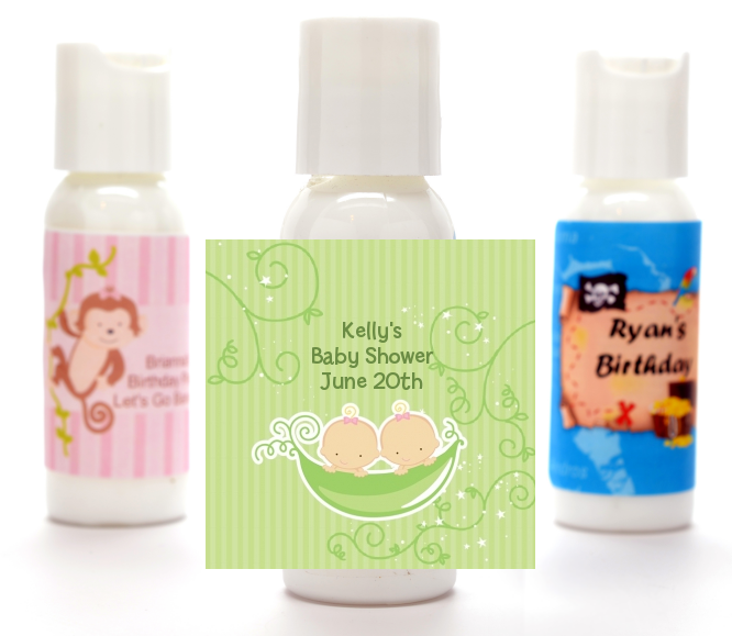 Twins Two Peas in a Pod Caucasian - Personalized Baby Shower Lotion Favors 1 Boy 1 Girl