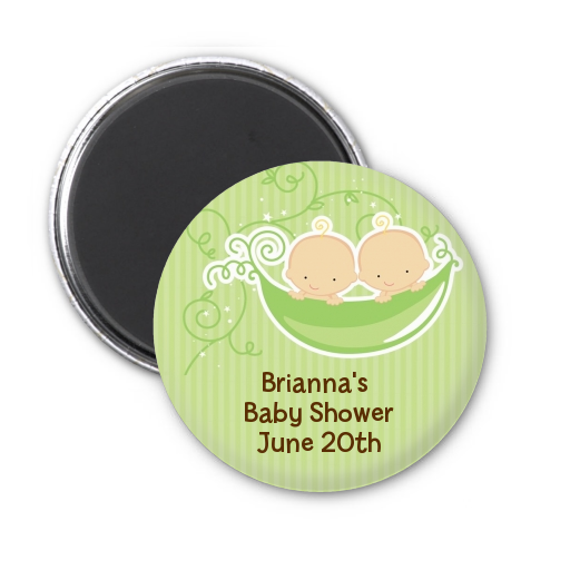 Twins Two Peas in a Pod Caucasian - Personalized Baby Shower Magnet Favors 1 Boy 1 Girl