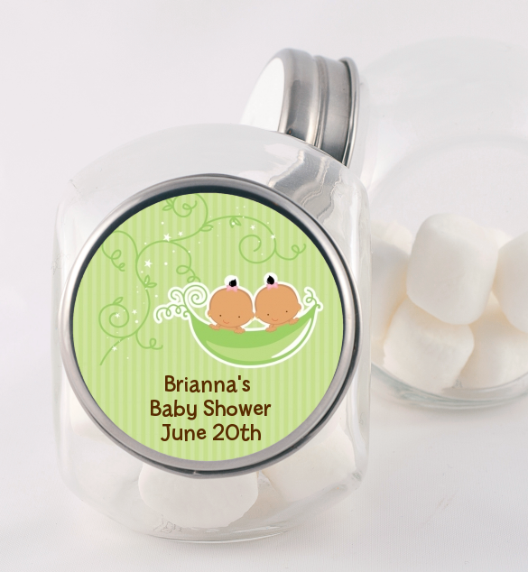 Twins Two Peas in a Pod Hispanic - Personalized Baby Shower Candy Jar 1 Boy 1 Girl