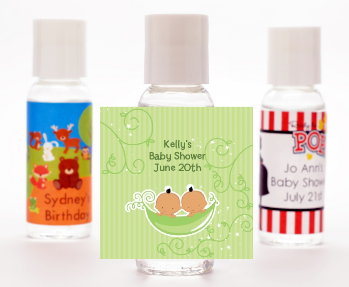 Twins Two Peas in a Pod Hispanic - Personalized Baby Shower Hand Sanitizers Favors 1 Boy 1 Girl