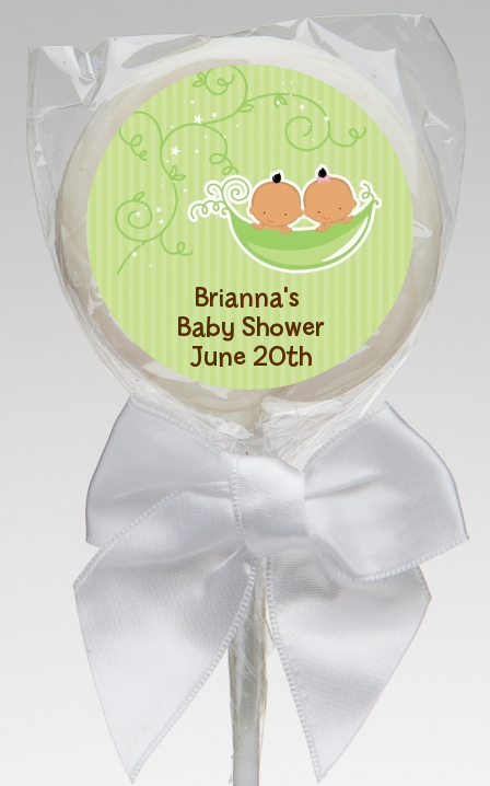 Twins Two Peas in a Pod Hispanic - Personalized Baby Shower Lollipop Favors 1 Boy 1 Girl