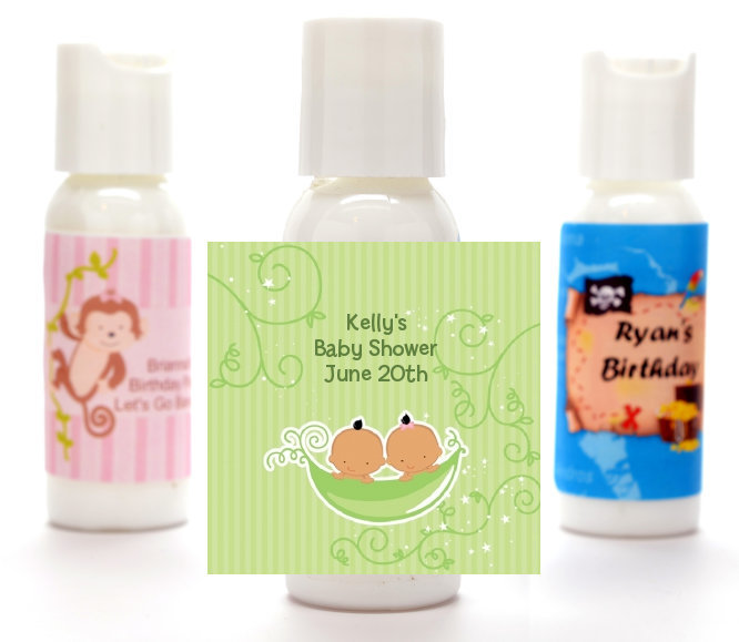 Twins Two Peas in a Pod Hispanic - Personalized Baby Shower Lotion Favors 1 Boy 1 Girl