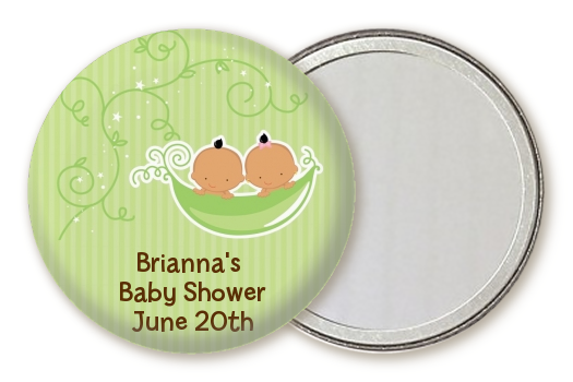 Twins Two Peas in a Pod Hispanic - Personalized Baby Shower Pocket Mirror Favors 1 Boy 1 Girl