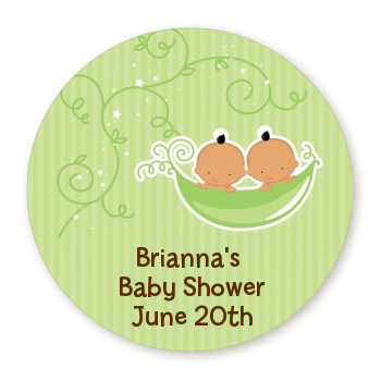 Twins Two Peas in a Pod Hispanic - Round Personalized Baby Shower Sticker Labels 1 Boy 1 Girl