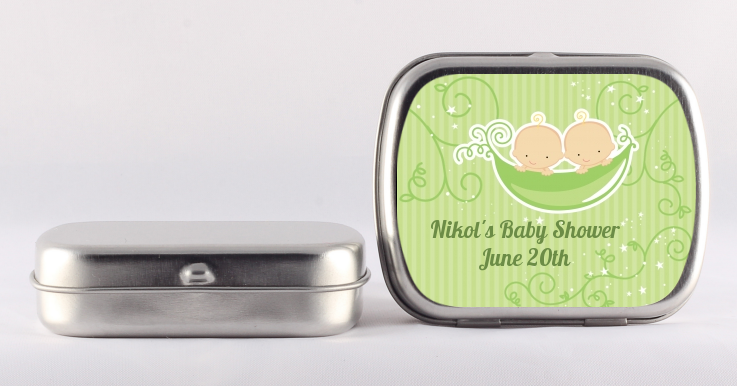 Twins Two Peas in a Pod Caucasian - Personalized Baby Shower Mint Tins 1 Girl 1 Boy