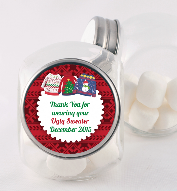 ugly sweater personalized christmas candy jar