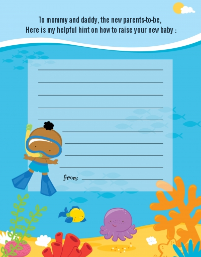 Under the Sea African American Baby Boy Snorkeling - Baby Shower Notes of Advice
