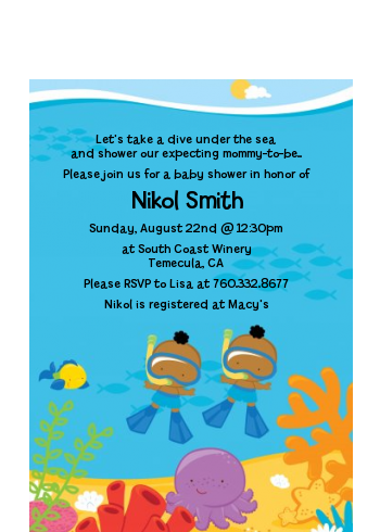 Under the Sea African American Baby Boy Twins Snorkeling - Baby Shower Petite Invitations