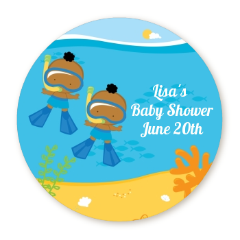 Under the Sea African American Baby Boy Twins Snorkeling - Personalized Baby Shower Table Confetti