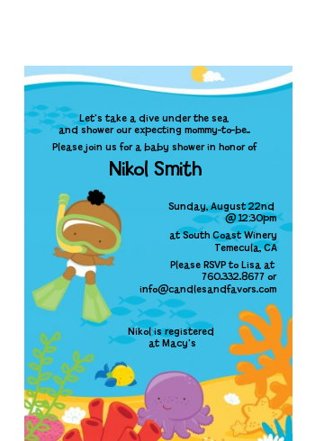 Under the Sea African American Baby Snorkeling - Baby Shower Petite Invitations