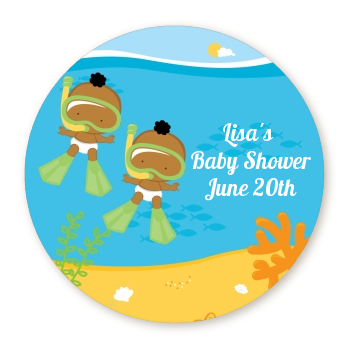 Under the Sea African American Baby Twins Snorkeling - Personalized Baby Shower Table Confetti