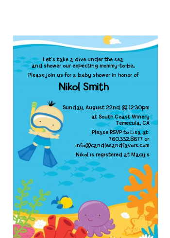 Under the Sea Asian Baby Boy Snorkeling - Baby Shower Petite Invitations