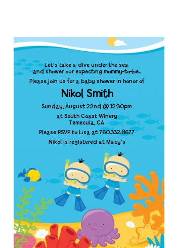 Under the Sea Asian Baby Boy Twins Snorkeling - Baby Shower Petite Invitations