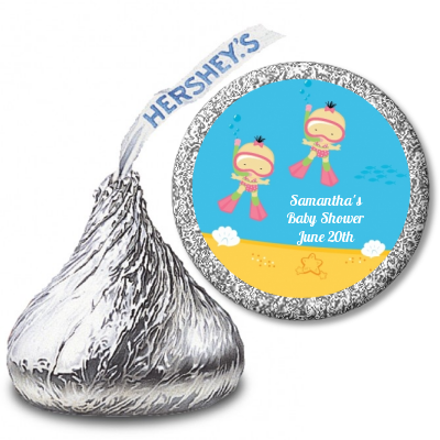 Under the Sea Asian Baby Girl Twins Snorkeling - Hershey Kiss Baby Shower Sticker Labels