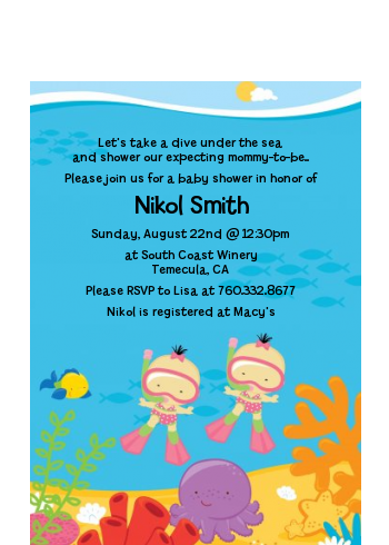 Under the Sea Asian Baby Girl Twins Snorkeling - Baby Shower Petite Invitations