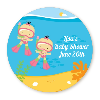 Under the Sea Asian Baby Girl Twins Snorkeling - Personalized Baby Shower Table Confetti
