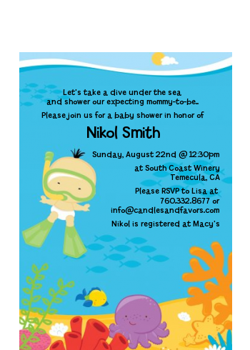 Under the Sea Asian Baby Snorkeling - Baby Shower Petite Invitations