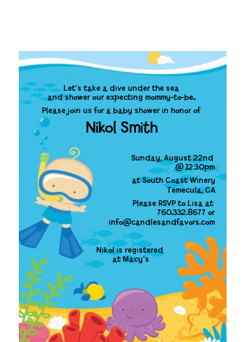 Under the Sea Baby Boy Snorkeling - Baby Shower Petite Invitations Boy