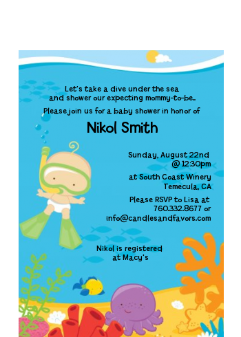 Under the Sea Baby Snorkeling - Baby Shower Petite Invitations