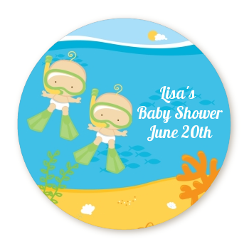 Under the Sea Baby Twins Snorkeling - Personalized Baby Shower Table Confetti