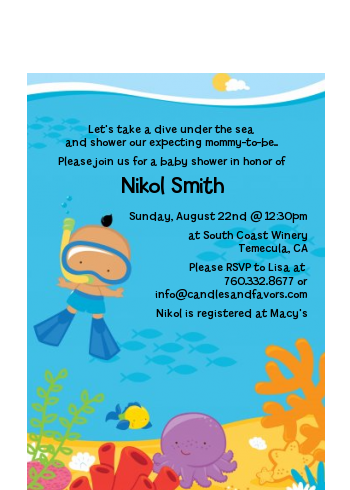 Under the Sea Hispanic Baby Boy Snorkeling - Baby Shower Petite Invitations