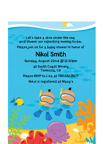 Under the Sea Hispanic Baby Boy Twins Snorkeling - Baby Shower Petite Invitations