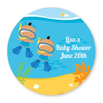 Under the Sea Hispanic Baby Boy Twins Snorkeling - Personalized Baby Shower Table Confetti