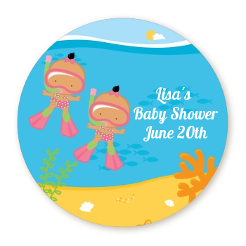 Under the Sea Hispanic Baby Girl Twins Snorkeling - Personalized Baby Shower Table Confetti